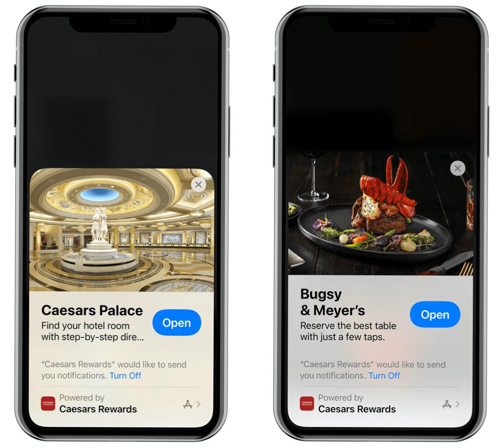 Screenshots of Caesars' new Apple App Clip experiences