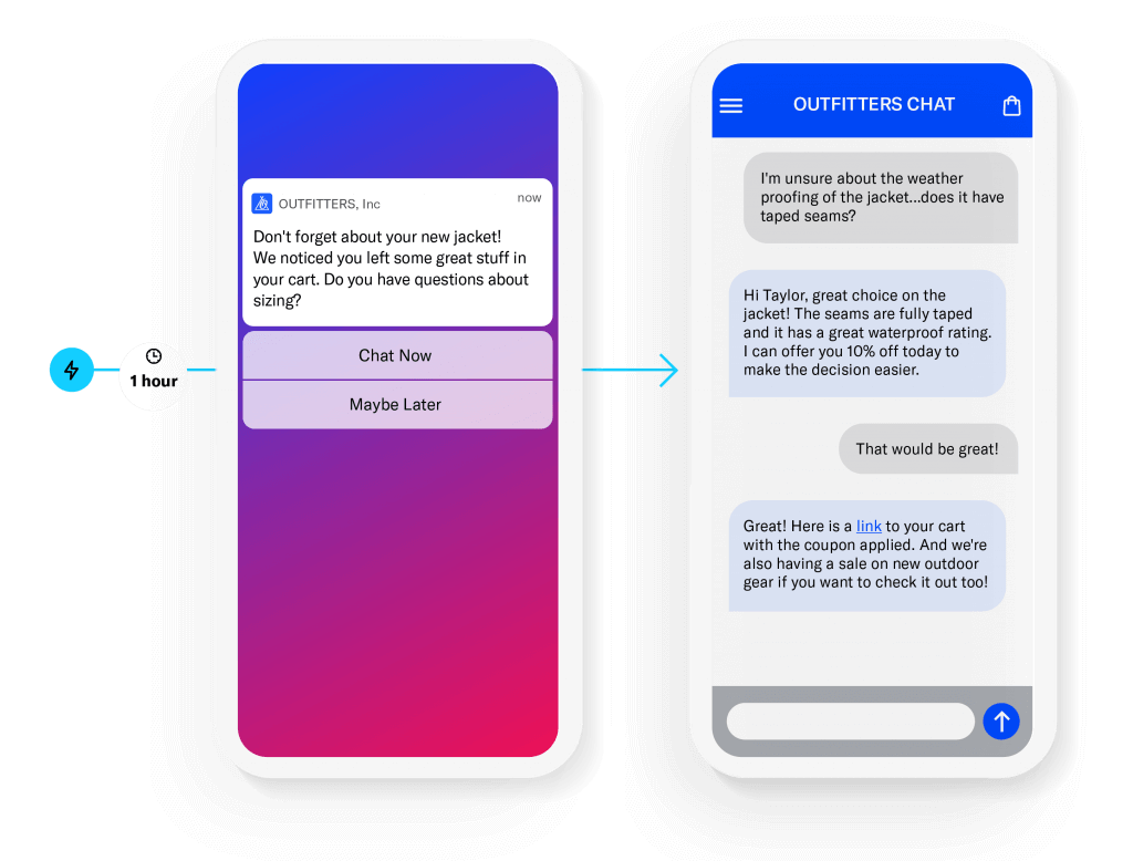 Airship Live Chat enables marketers to proactively start customer conversations for sales and services experiences that grow business value and customer satisfaction.