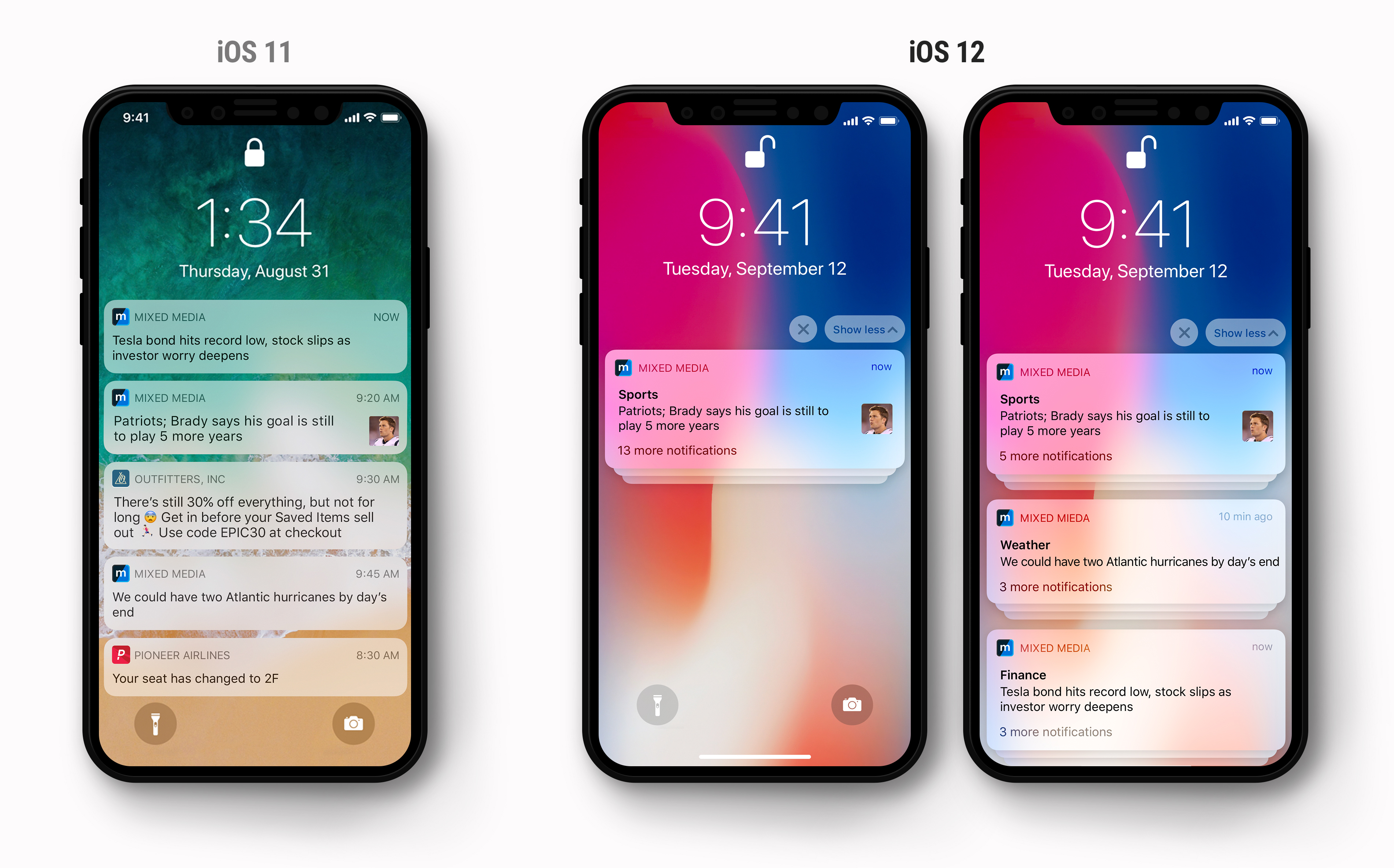 The display of notifications changes from iOS 11 to iOS 12
