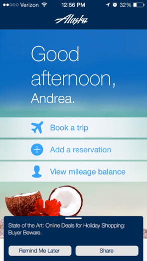 alaska-airlines-in-app-marketing-in-app-messaging-banner-with-interactive-buttons