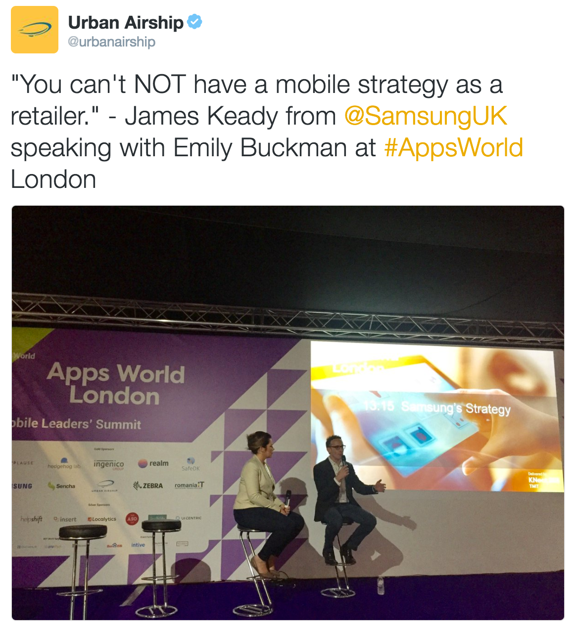 apps-world-london-samsung-james-keady-urban-airship-emily-buckaman-presenting-tweet-screenshot