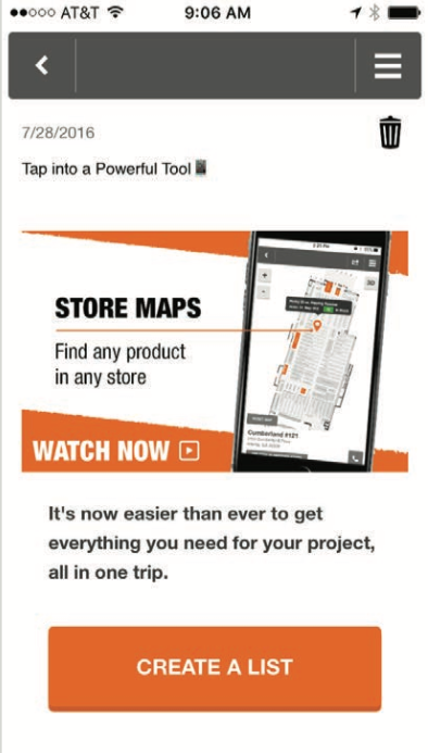 home-depot-app-message-center-example-screenshot