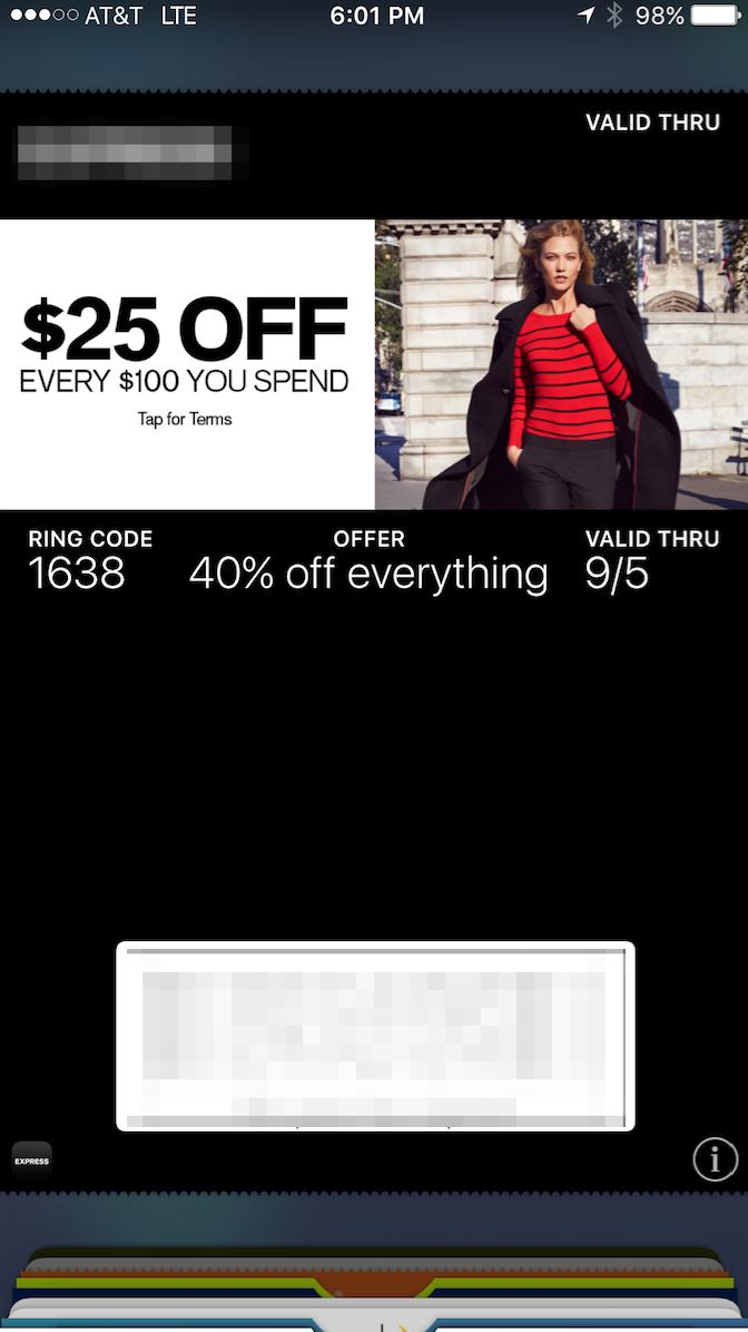 mobile wallet pass clothing retailer screenshot