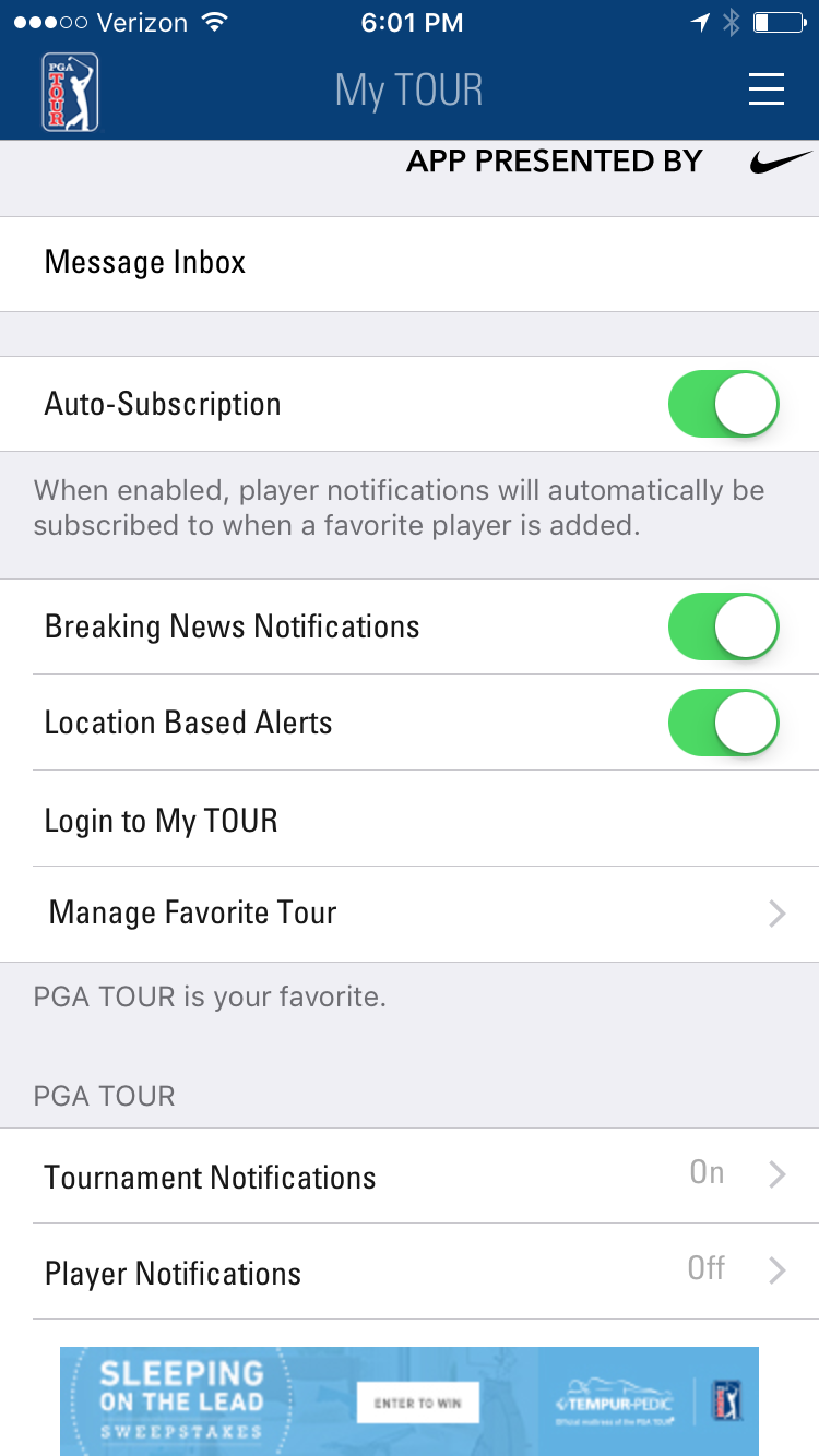 pga-tour-in-app-message-center-preferences-screenshot