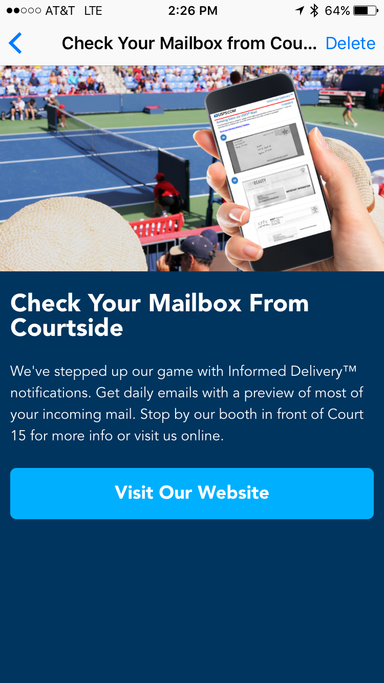 us open app check your inbox from courtside screenshot