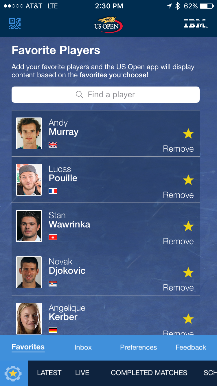us open app choose your favorite players screenshot