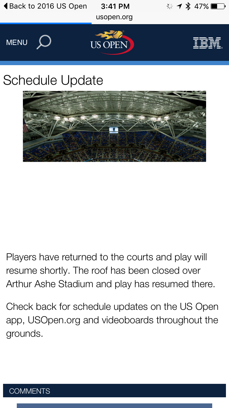 us open app schedule update screenshot