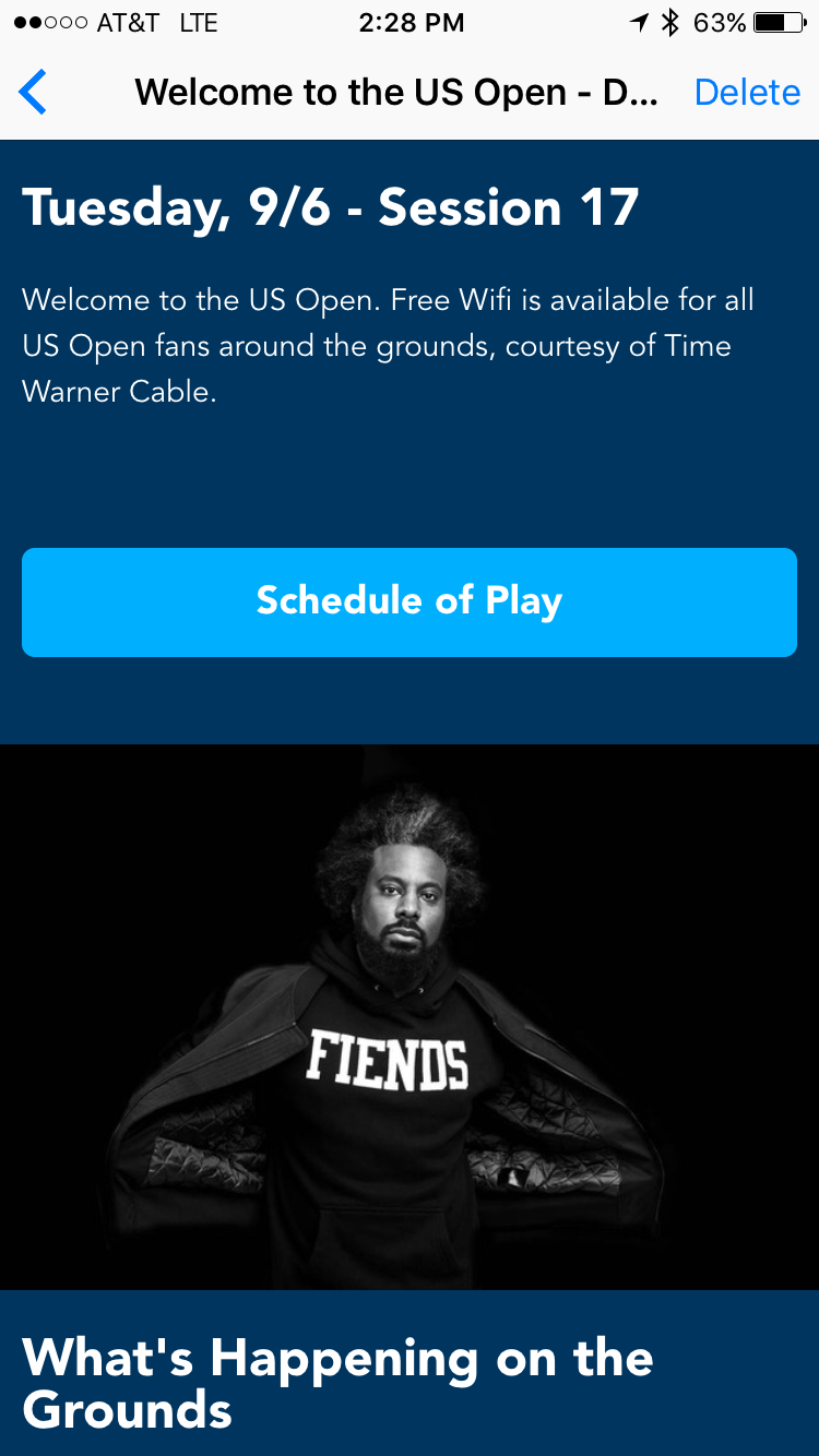 us open app welcome message screenshot